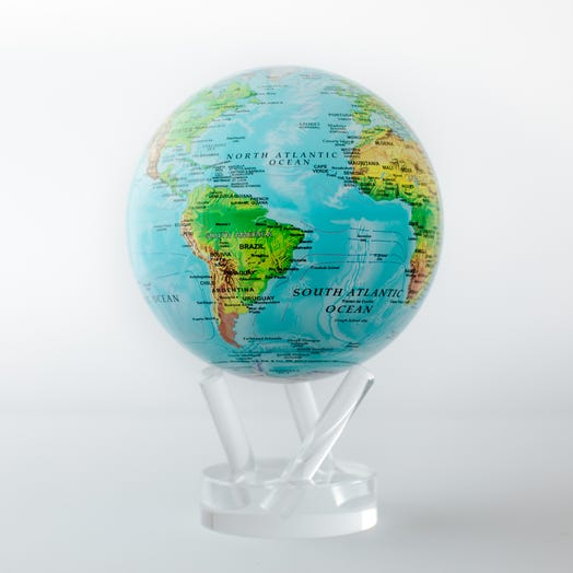 "Relief Map Blue MOVA Globe 4.5"" with Acrylic Base"