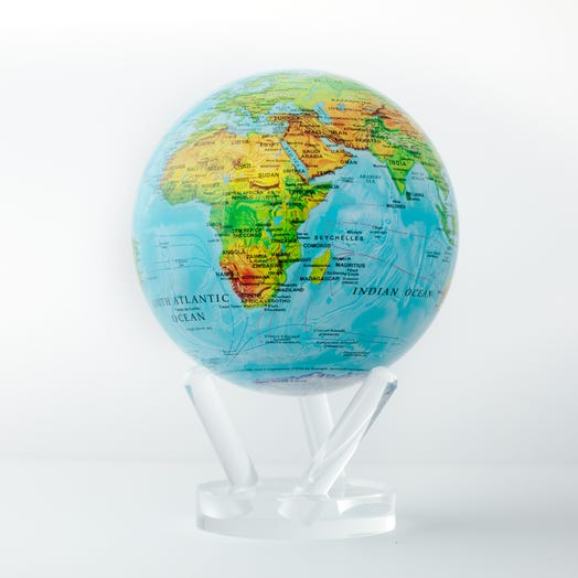 """Relief Map Blue MOVA Globe 6"""" with Acrylic Base"""