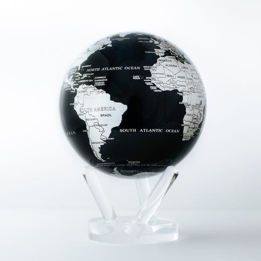 "Black and Silver MOVA Globe 6"" with Acrylic Base"