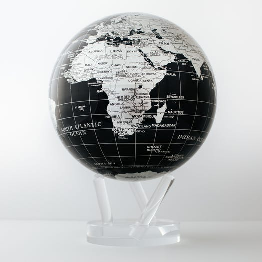 "Black and Silver MOVA Globe 8.5"" with Acrylic Base"