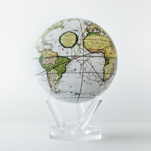 "Antique Terrestrial White MOVA Globe 6"" with Acrylic Base"