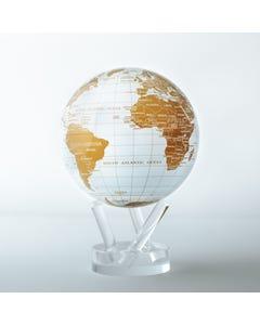 "White and Gold MOVA Globe 4.5"" with Acrylic Base"