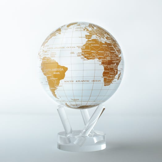 "White and Gold MOVA Globe 4.5"" with Acrylic Base"